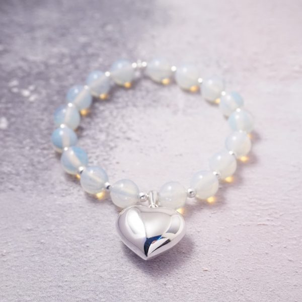 Sterling Silver Chunky Stretch Bracelet with Opalite Beads and Large Heart Charm