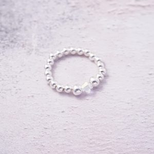 Sterling Silver Stretch Ring with Swarovski Crystal Bead