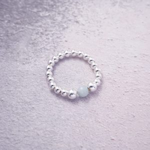 Sterling Silver Stretch Ring with Chinese Amazonite Bead
