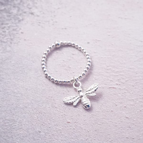 Sterling Silver Stretch Ring with Bumble Bee Charm