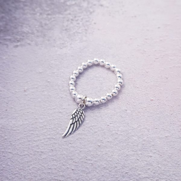 Sterling Silver Stretch Ring with Angel Wing Charm