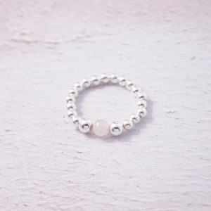 Sterling Silver Stretch Ring with Rose Quartz Bead