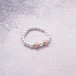 Sterling Silver Stretch Ring with Rose Gold Beads