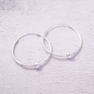 Sterling Silver Hoop Earrings with Ball Beads