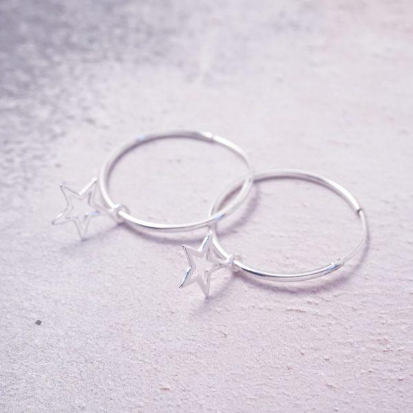 Sterling Silver Hoop Earrings with Star Charms