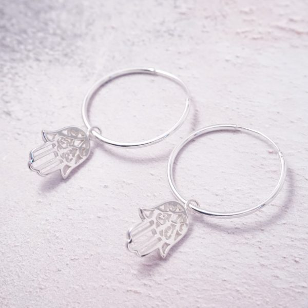 Sterling Silver Hoop Earrings with Hamsa Hand Charms
