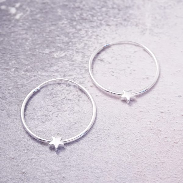 Sterling Silver Hoop Earrings with Star Beads