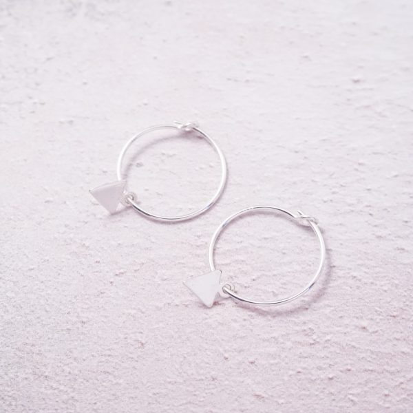 Sterling Silver Hoop Earrings with Triangle Charms