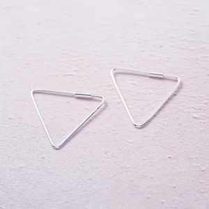 Sterling Silver Triangle Hoop Earrings