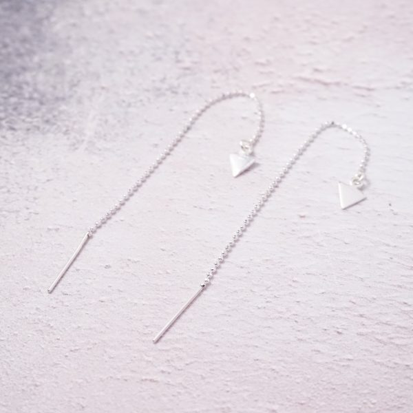 Sterling Silver Threader Earrings with Triangle Charms