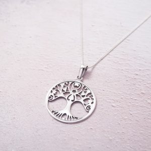 Sterling Silver Necklace with Large Circle Tree of Life Charm