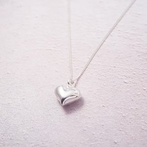 Sterling Silver Necklace with Large Heart Charm