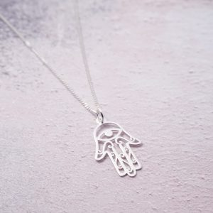 Sterling Silver Necklace with Hamsa Charm