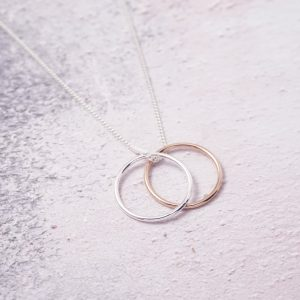 Sterling Silver Necklace with Eternity Rings