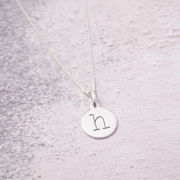 Sterling Silver Necklace with One Lowercase Initial Charm