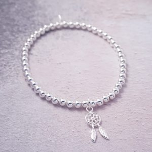 Sterling Silver Stretch Bracelet with Dreamcatcher Charm
