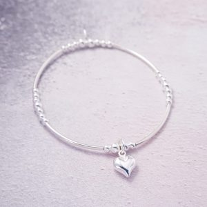 Sterling Silver Stretch Noodle Bracelet with Heart Charm