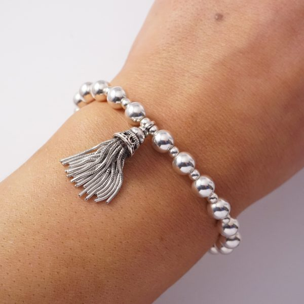 Sterling silver chunky tassel bracelet