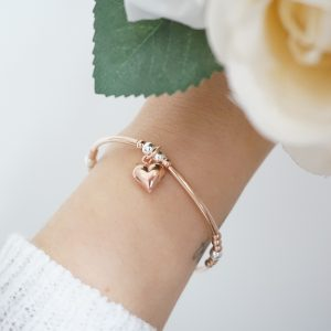 rose gold and silver heart noodle bracelet