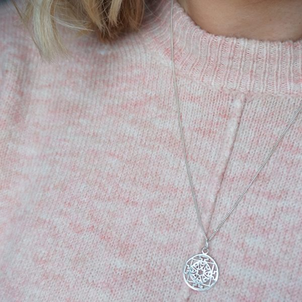 Sterling silver necklace with circular disc