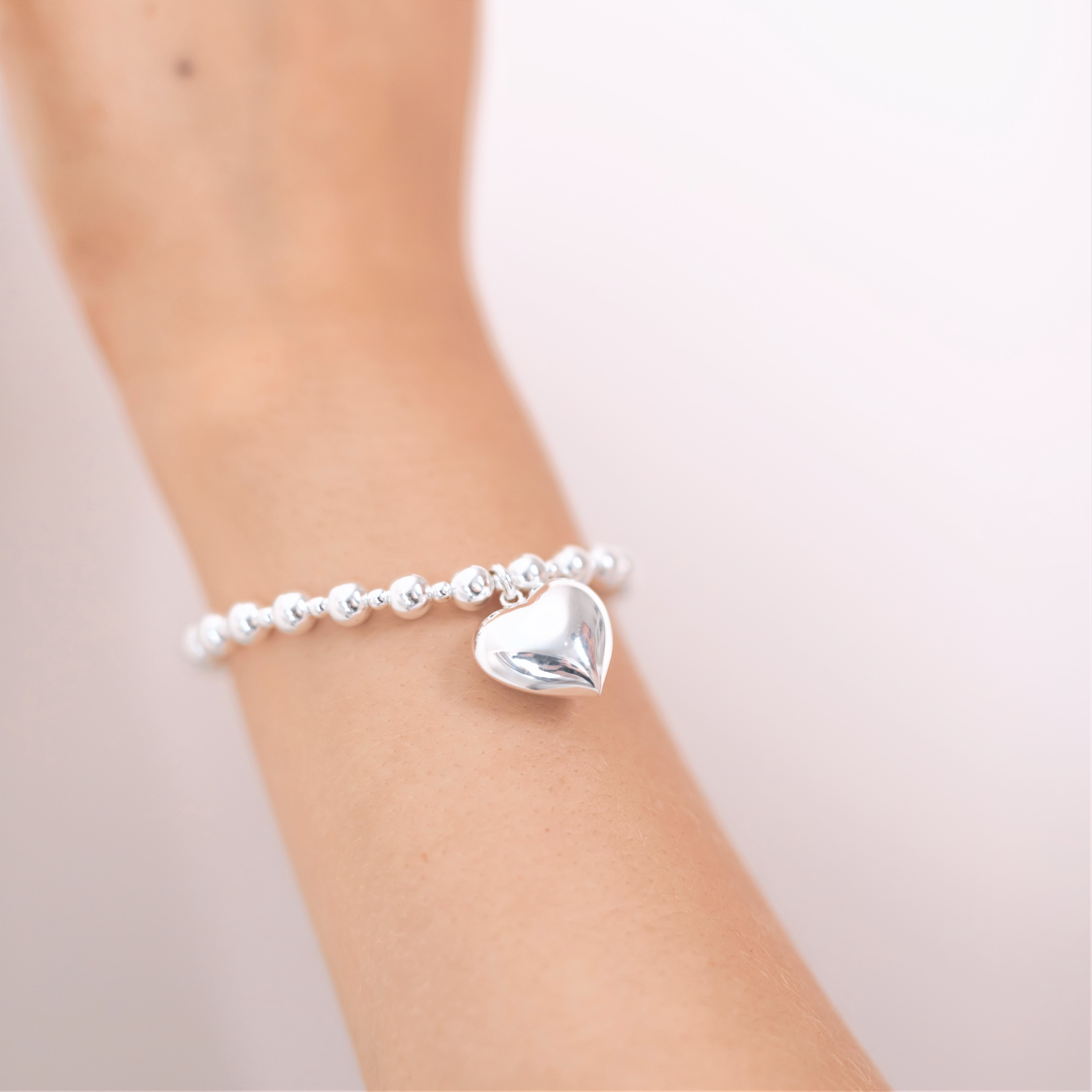 Sterling silver chunky bracelet with chunky heart charm