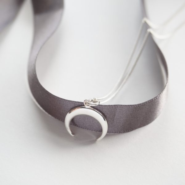 sterling silver necklace with horn charm