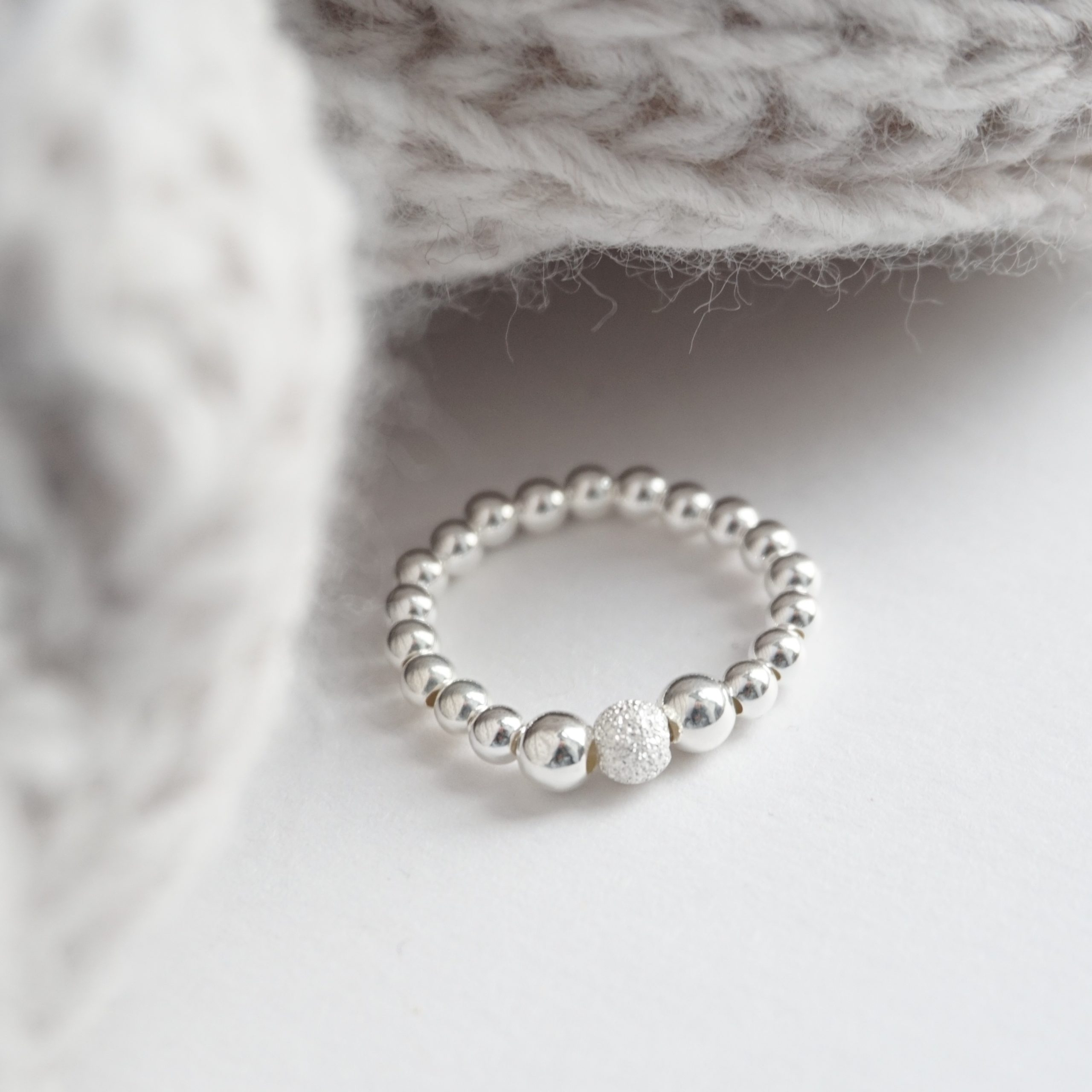 sterling silver ring with stardust bead