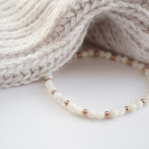 Rose gold and mother of pearl stack bracelet