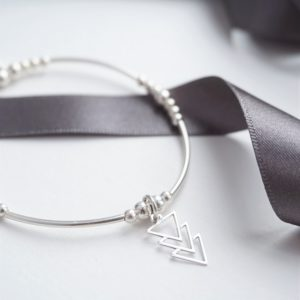 sterling silver noodle bracelet with triple triangle charm