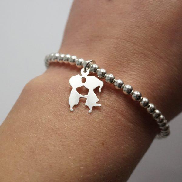 sterling silver kissing bracelet