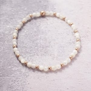 Rose Gold and Mother of Pearl Stretch Stack Bracelet