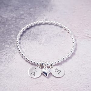 Sterling Silver Stretch Bracelet with Two Lowercase Initial Charms and Heart Charm