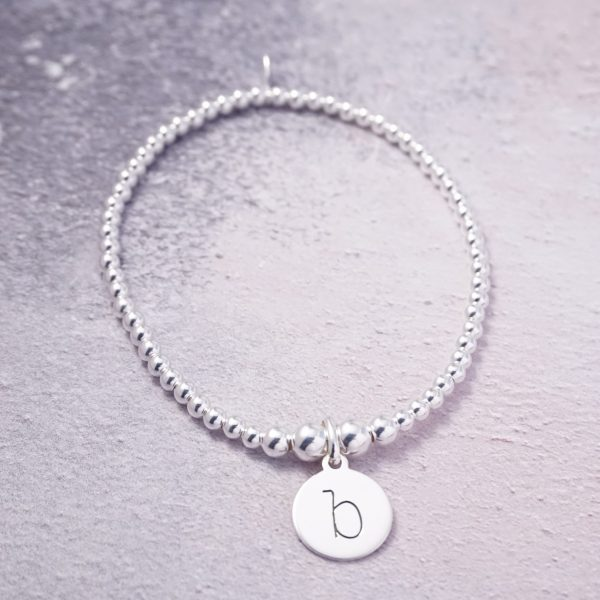 Sterling Silver Stretch Bracelet with One Lowercase Initial Charm