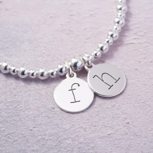 Sterling Silver Stretch Bracelet with Two Lowercase Initial Charms
