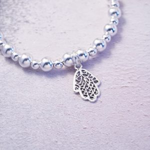 Sterling Silver Chunky Stretch Bracelet with Hamsa Hand Charm