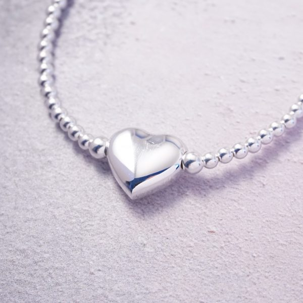 Sterling Silver Stretch Bracelet with Large Heart Bead