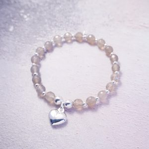 Sterling Silver Stretch Bracelet with Grey Agate Beads and Heart Charm
