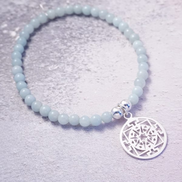 Sterling Silver Stretch Bracelet with Chinese Amazonite Beads and Circular Design Charm