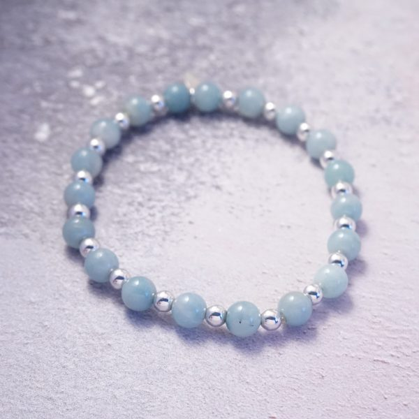 Sterling Silver and Chinese Amazonite Chunky Stretch Stack Bracelet