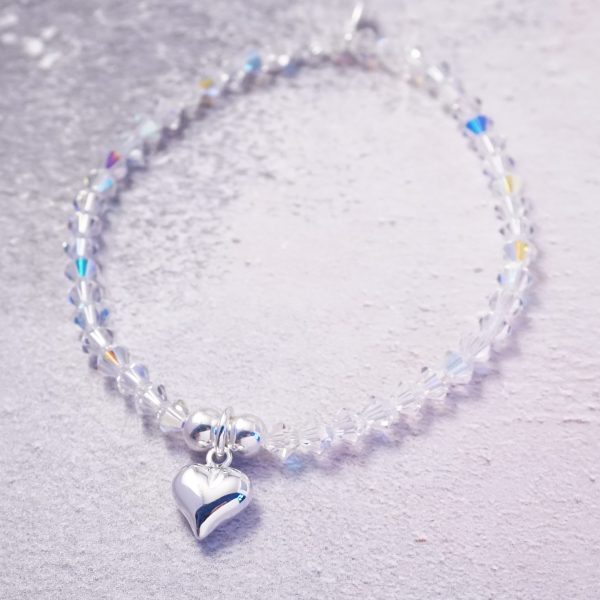 Sterling Silver Stretch Bracelet with Czech Crystal Beads and Heart Charm