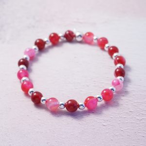 Sterling Silver and Dyed Fuchsia Agate Chunky Stretch Stack Bracelet