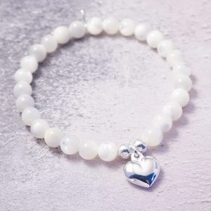 Sterling Silver Stretch Bracelet with Mother of Pearl Beads and Heart Charm
