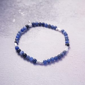 Sterling Silver Stretch Bracelet with Sodalite Beads and Fish Beads
