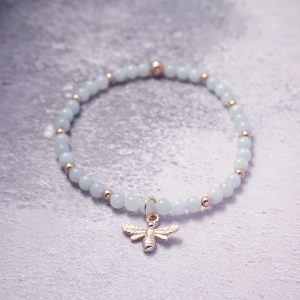 Sterling Silver Stretch Noodle Bracelet with Swarovski Crystal Beads and Heart Charm