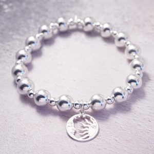 Sterling Silver Chunky Stretch Bracelet with Moon and Sun Disc