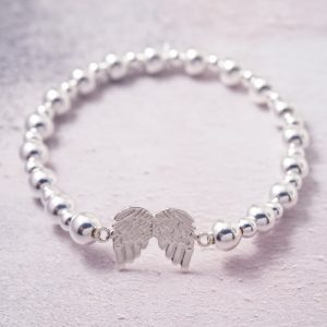 Sterling Silver Stretch Bracelet with Angel Wings Connector