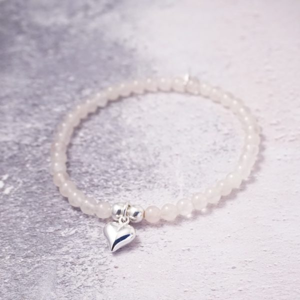 Sterling Silver Stretch Bracelet with Rose Quartz Beads and Heart Charm