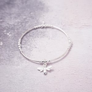 Sterling Silver Stretch Noodle Bracelet with Bumble Bee Charm