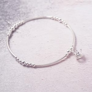 Sterling Silver Stretch Noodle Bracelet with Crown Charm