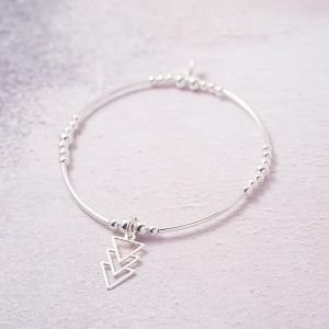 Sterling Silver Stretch Noodle Bracelet with Triple Triangle Charm